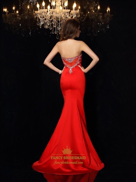 Elegant Red Strapless Mermaid Formal Dress With Embellished Neckline