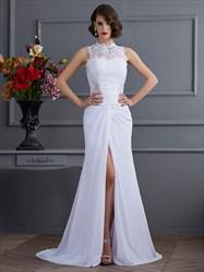 Sleeveless White Lace Bodice Chiffon Evening Dress With Front Split
