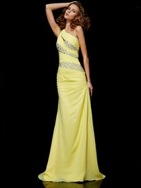 Yellow One Shoulder Jewel Embellished Chiffon Floor Length Prom Dress