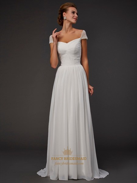 Elegant Cap Sleeve V-Neck A-Line Floor Length White Chiffon Prom Dress