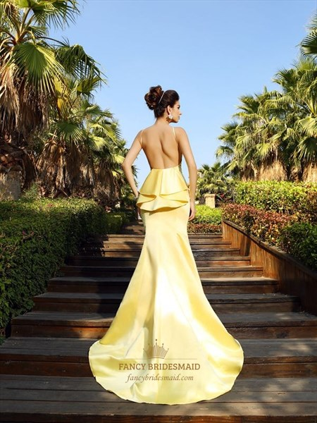 Yellow Elegant Sleeveless Mermaid Ruffle Formal Dress With Open Back