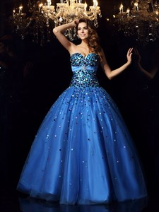 Royal Blue Strapless Beaded Embellished A-Line Ball Gown Prom Dress