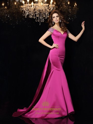 Hot Pink Open Back V Neck Mermaid Floor Length Prom Dress With Train