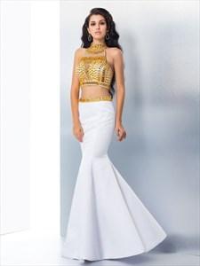 Two Piece Sleeveless Mermaid Prom Dress With Illusion Jeweled Bodice