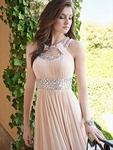 Elegant A-Line Floor Length Sleeveless Jeweled Chiffon Evening Dress