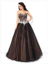 Chocolate Brown Floor Length Strapless Beaded Embellished Ball Gown