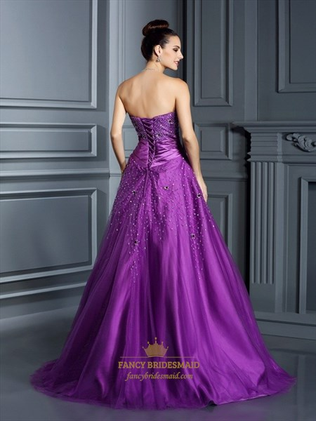 Purple Strapless Floor Length A Line Ball Gown With Jewel Embellished