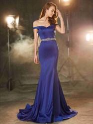 Elegant Off Shoulder Floor Length Mermaid Prom Dress With Beaded Waist