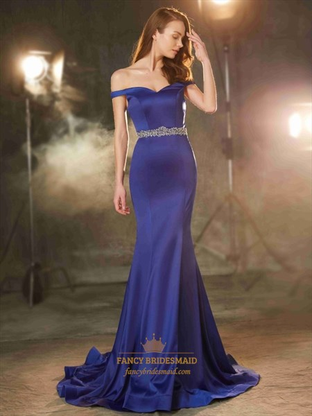 Elegant Off Shoulder Floor Length Mermaid Prom Dress With Beaded Waist