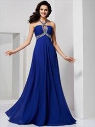 Royal Blue Sleeveless Jeweled Chiffon A-Line Prom Dress With Open Back