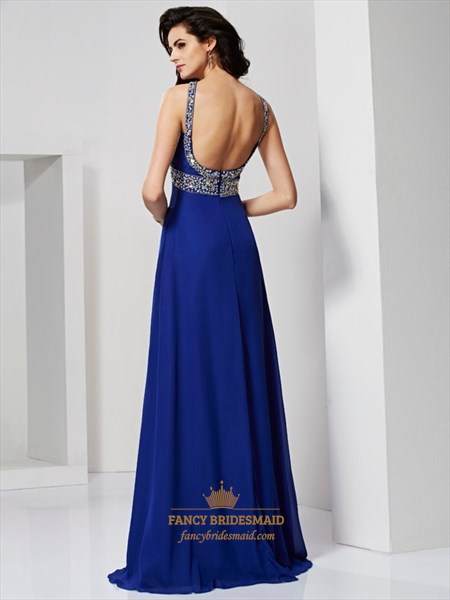 Royal Blue Sleeveless Jeweled Chiffon A-Line Prom Dress With Open Back