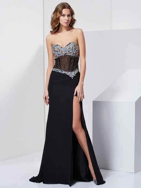 Black Strapless Split Chiffon Prom Dress With Illusion Jeweled Bodice