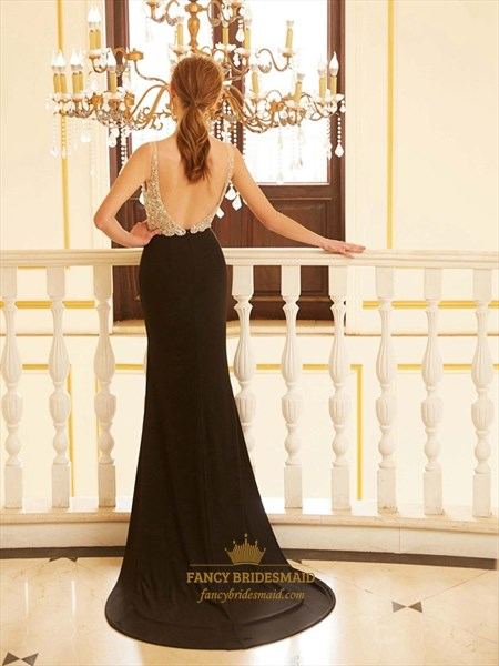 Black Sleeveless V Neck Open Back Chiffon Prom Dress With Side Split