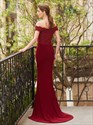 Burgundy Off The Shoulder V-Neck Mermaid Prom Dress With Lace Bodice