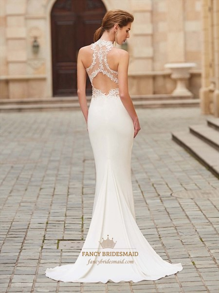 Sleeveless Elegant Lace Chiffon Mermaid Prom Dress With Illusion Back