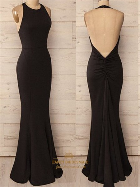 Simple Black Halter Floor Length Mermaid Evening Dress With Open Back