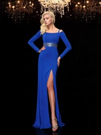 Royal Blue Long Sleeve Chiffon Evening Dress With Beaded Empire Waist