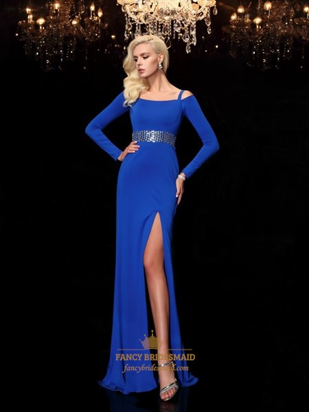 Royal Blue Long Sleeve Chiffon Evening Dress With Beaded Empire Waist