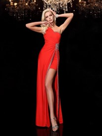 Red Chiffon One Shoulder Jewel Embellished Floor Length Evening Dress