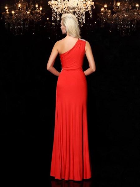 Red Chiffon One Shoulder Jewel Embellished Floor Length Evening Dress