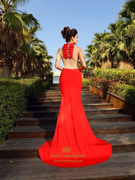 Sleeveless Red Sheer Neckline High-Neck Mermaid Prom Dress With Split