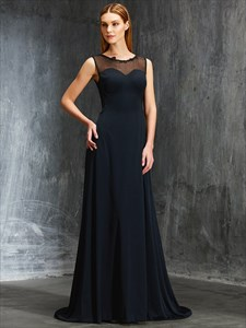 Elegant Black Sheer Neckline Floor Length Sleeveless Chiffon Prom Gown