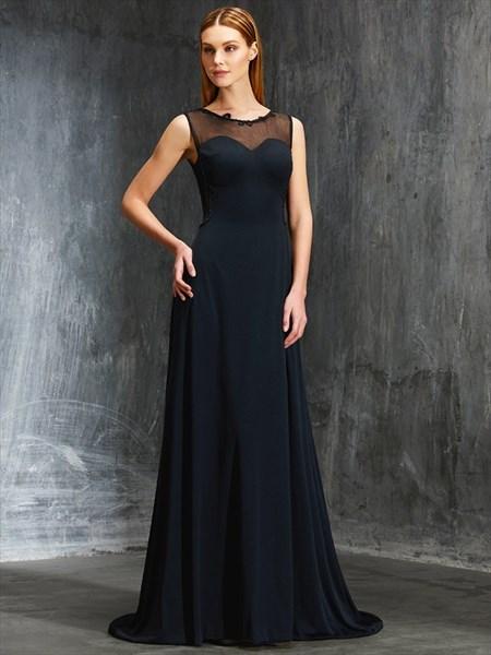 Elegant Black Sheer Neckline Floor Length Sleeveless Chiffon Prom Gown