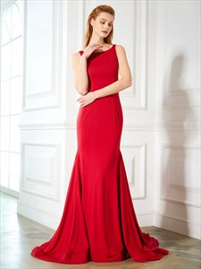 Red Floor Length Sleeveless Mermaid Satin Prom Dress With Open Back