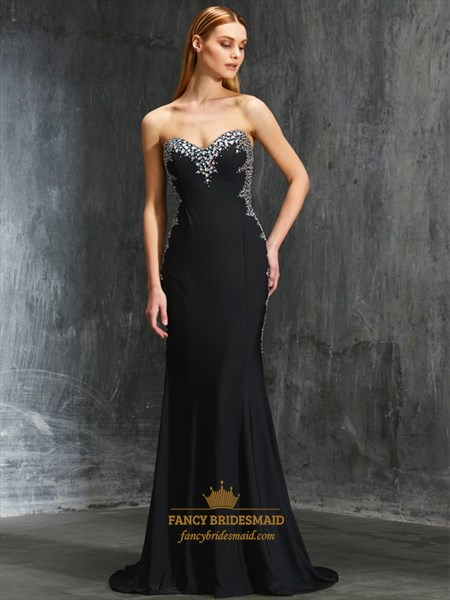 Black Strapless Sweetheart Jewel Embellished Mermaid Long Prom Dress