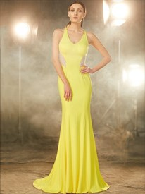Yellow Sleeveless Mermaid Chiffon Prom Gown With Illusion Beaded Back