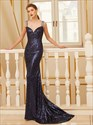 Black Sequin Floor Length Sleeveless Mermaid Prom Dress With Open Back