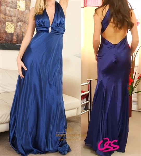 Sexy Blue Halter Open Back Prom Dress