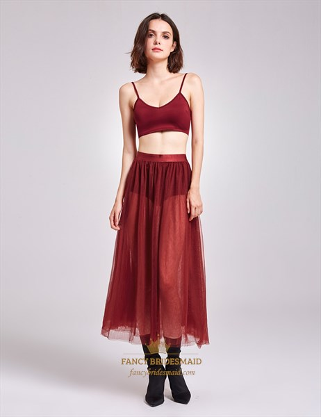 Sexy Two-Piece Burgundy Spaghetti Strap A-Line Tulle Overlay Dress