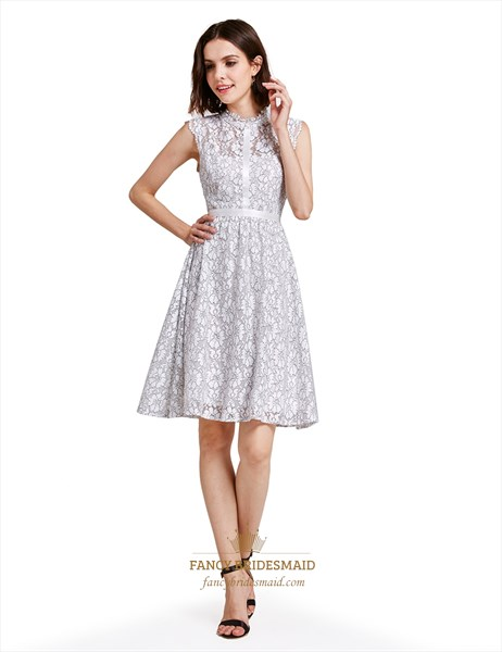 Lovely White A-Line Knee Length Sleeveless Lace Cocktail Dress