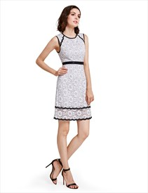 Elegant Black And White Sleeveless Lace Knee Length Sheath Dress