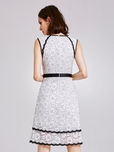 Elegant Black And White Sleeveless Lace Knee Length Sheath Dress