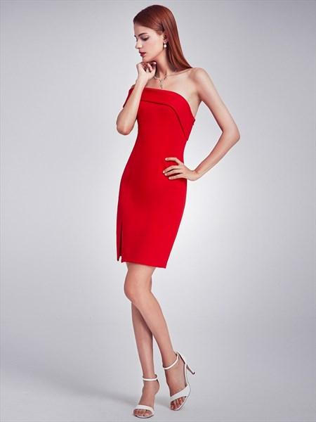 Elegant Short Red One Shoulder Sheath Cocktail Dress With Side Slit