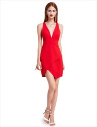 Red Deep V Neck Sleeveless Short Sheath Asymmetric Cocktail Dress