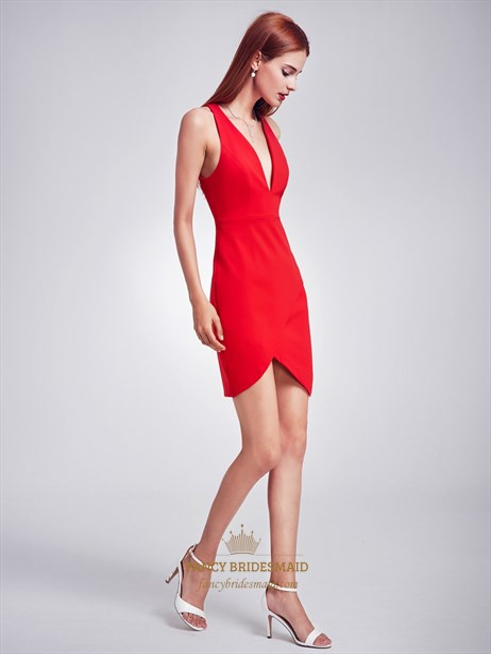 Red Deep V Neck Sleeveless Short Sheath Asymmetric Cocktail Dress