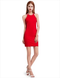 Red Simple Sleeveless Short Sheath Cocktail Dress With Open Back