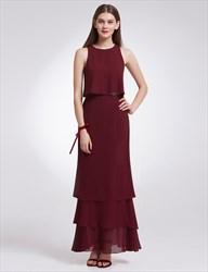 Simple Elegant Sleeveless Two-Piece Chiffon Long Evening Dress
