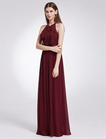 A-Line Halter Neck Chiffon Open Back Long Maxi Dress With Ruffles