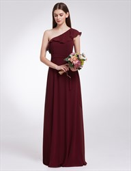 Elegant One Shoulder Chiffon A-Line Floor Length Dress With Belt