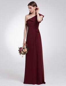 Elegant One Shoulder Chiffon A-Line Floor Length Dress With Belt