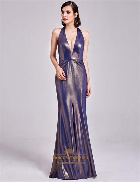 Floor Length Deep V Neck Halter Evening Dress With Slits And Open Back