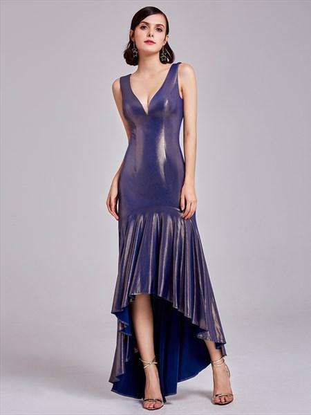 Sleeveless Plunge V Neck Drop Waist High Low Mermaid Long Prom Dress