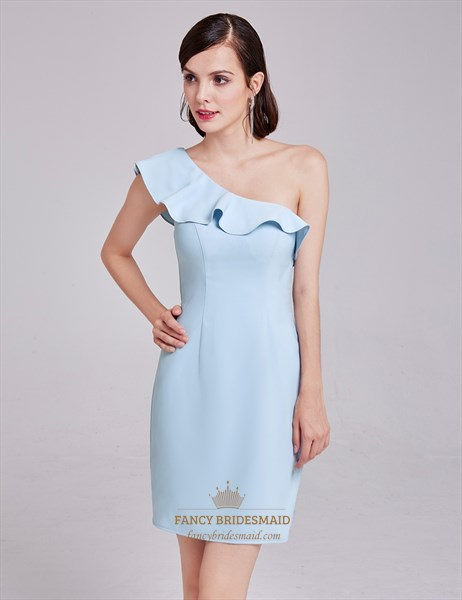 Light Blue Simple One Shoulder Short Sheath Cocktail Dress With Ruffle