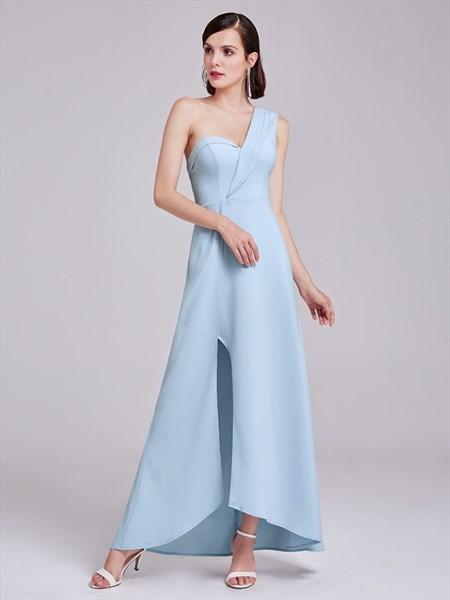 Light Blue One Shoulder Sweetheart Neckline Asymmetrical Long Dress