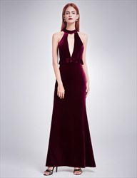 Elegant Velvet Sleeveless Long Evening Dress With Keyhole Front