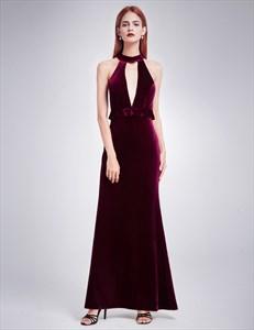 Elegant Velvet Sleeveless Long Evening Dress With Keyhole Front